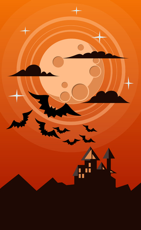 helloween: helloween illustration of dark castle with big moon and several bats