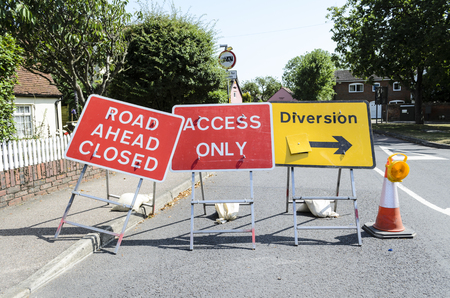 Road ahead closed diversion.