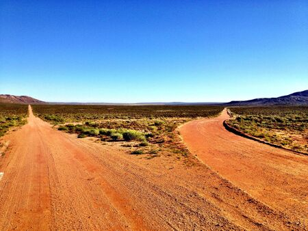 Fork in a road in the Namaqualand area in South Africa Stock Photo