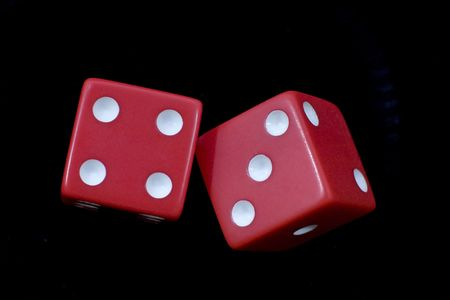 2 rolling red dice Stock Photo - 765066