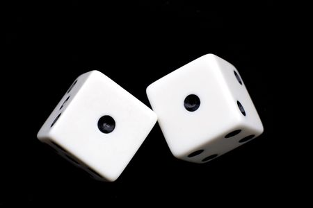 2 rolling white dice Stock Photo - 765063