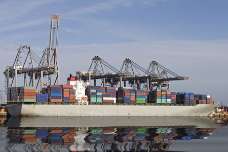 A ship at Southampton docks, being loaded with containers Stock Photo - 799778