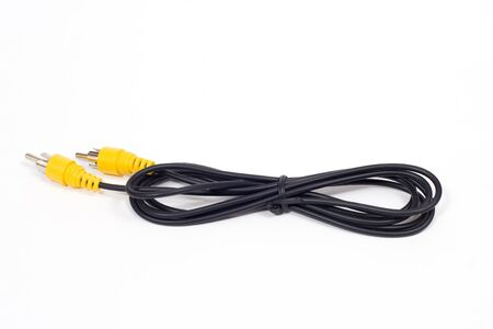 An RCA cable on a white background