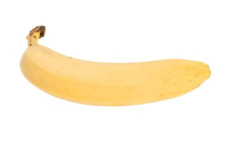 A single banana isolated on a white background