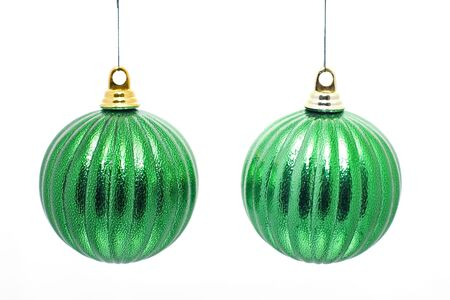 2 hanging green christmas decorations Stock Photo