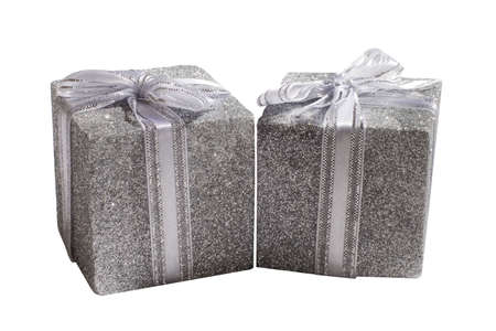2 silver decorated presents Stock Photo