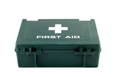 A green plastic first aid box isolated on a white background photo