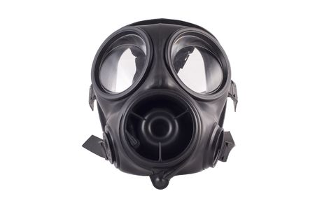 an army issue gas mask isolated on a white background
