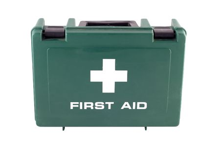 a free standing green plastic first aid box photo
