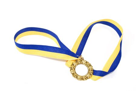 A gold medal on a yellow and blue ribbon