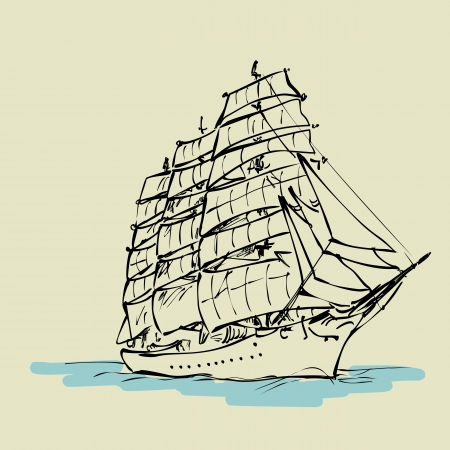 sailer: Sailing boat floats on full sails, drawing concept