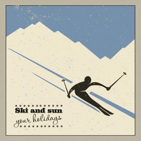 アスリート: 山から山スキーヤー スライド  イラスト・ベクター素材
