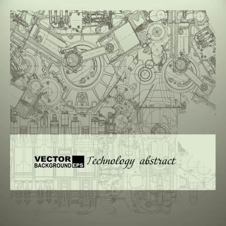 machinery: Retro technical background, drawing  engine