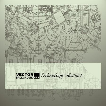 Retro teknik arka plan, çizim motoru Illustration