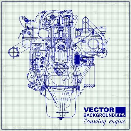 Dibujo viejo motor en papel cuadriculado. Vector de fondo. Ilustración de vector