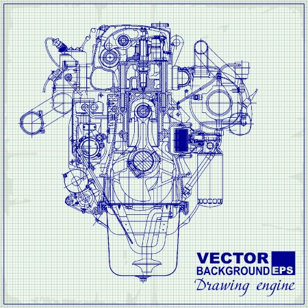 Drawing old engine on graph paper. Vector background. Vector