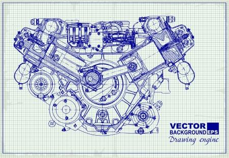 Dessin vieux moteur sur du papier millimétré. Vecteur de fond. Illustration