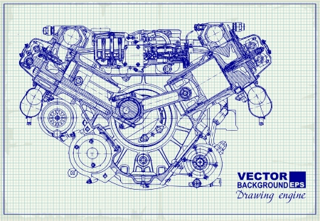 machinery: Drawing old engine on graph paper. Vector background. Illustration
