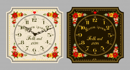 Folk Art. Retro wall clock, set the dial and hands. Vector
