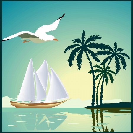 gulls: Summer background, poster in retro style with the sea, palm trees and seagulls. Vector