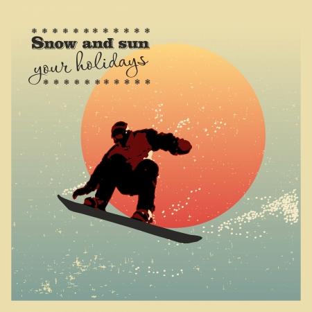 Rétro affiche. snowboarder voler contre le soleil du soir
