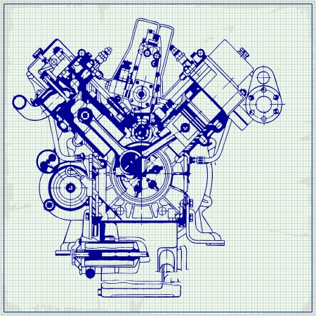 outline blue: Drawing old engine on graph paper. Vector background. Illustration