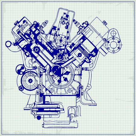 Tekening oude motor op ruitjespapier. Vector achtergrond.
