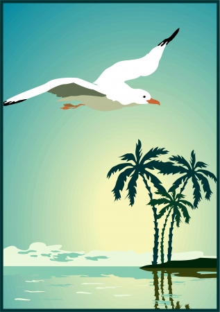 sea gull: Summer background, poster in retro style with the sea, palm trees and seagulls. Vector