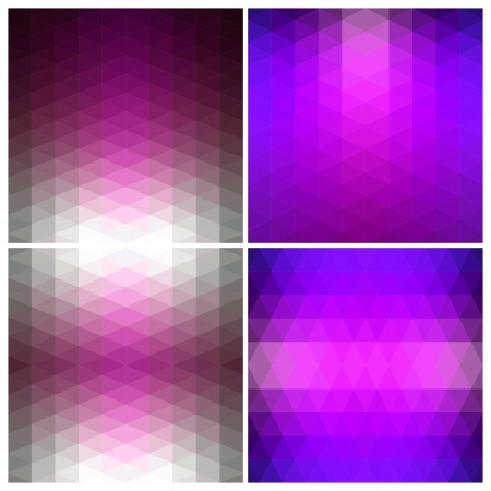 Set 3D Abstract geometric patterns of triangles. Flow spectral pink light. Illustration