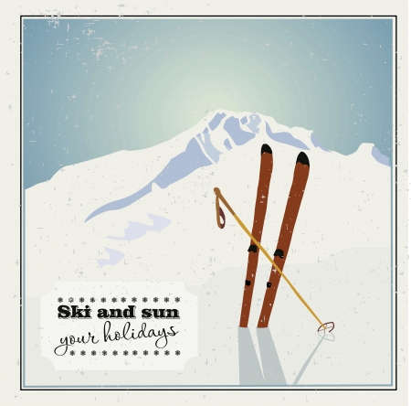 Winter  background. Mountains and ski equipment in the snow Vector