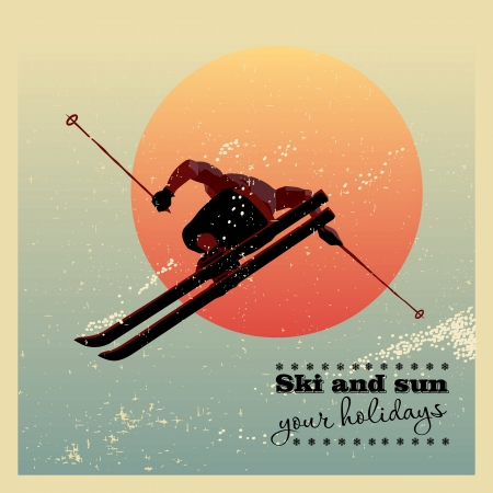 Retro poster. Skier flying against the evening sun Vector