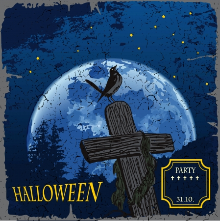Illustration of Halloween cemetery with crosses on a big moon Vector