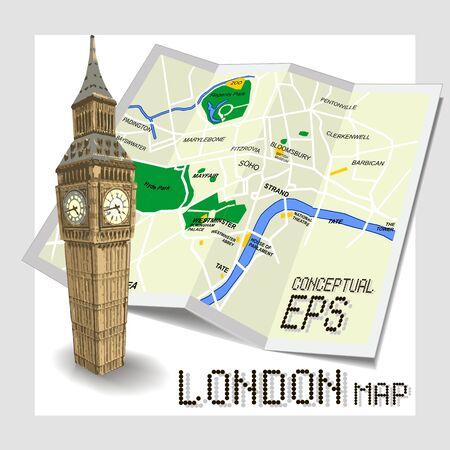 mapa conceptual: Conceptual mapa turístico de Londres