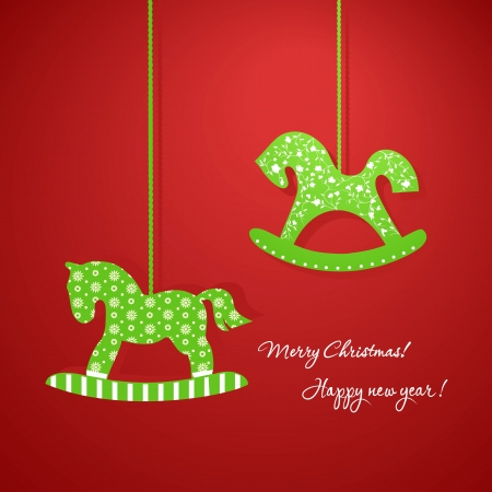 Christmas applique with wooden horses Vector