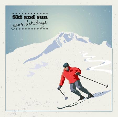 山スキーヤーの山からスライドします。  イラスト・ベクター素材