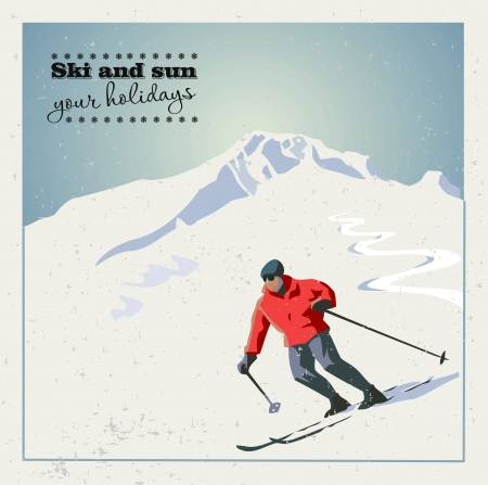 mountain skiër glijdt van de berg. Vector Illustratie
