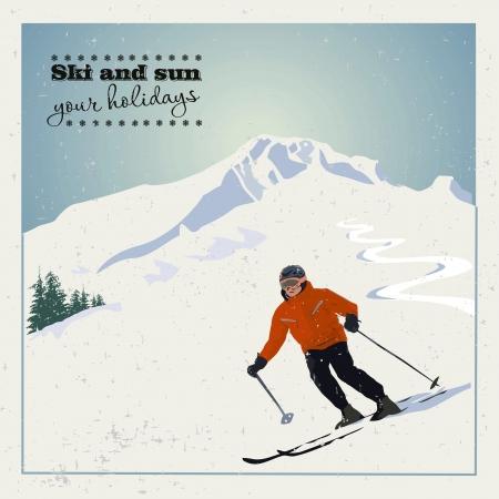 berg skiër glijdt van de berg.