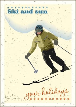 montagna sciatore scivola dalla montagna.