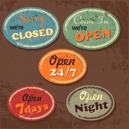 closed door: Set of Retro Vintage Signs with Grunge Effect