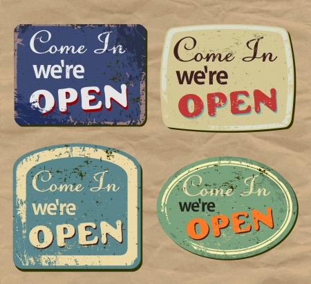 Vintage metal sign - Open - Vector Set. Illustration