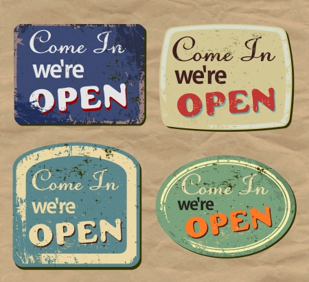 tin: Vintage metal sign - Open - Vector Set. Illustration
