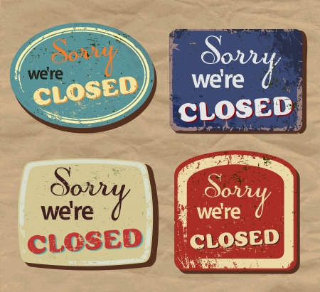 Vintage metal sign - Closed - Vector Set.