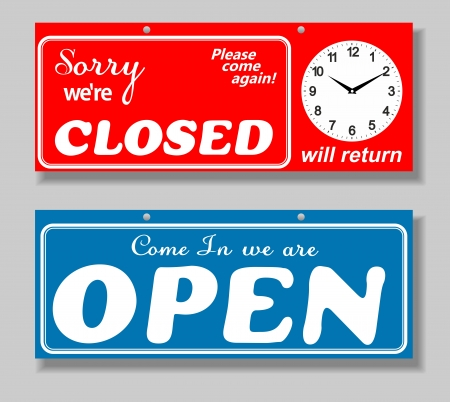 Business Sign on Chain, Open Closed Will Return, Digital Clock Stock Vector - 23838630
