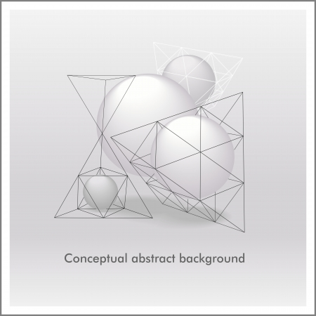 Conceptual abstract background of spheres and pyramids.