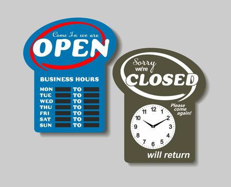 will return: Business Sign on Chain, Open Closed Will Return, Digital Clock Illustration