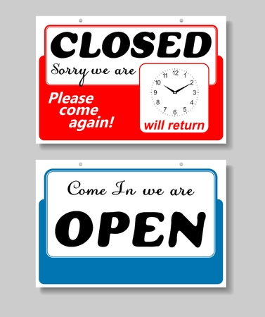 Business Sign on Chain, Open Closed Will Return, Digital Clock Illustration