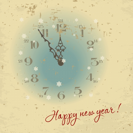 Vintage Greeting Card Happy New Year   , vector illustration Vector