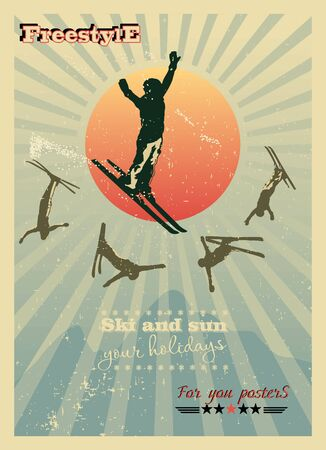 ski resort: Alpine poster, skier in the sun, plus five silhouettes