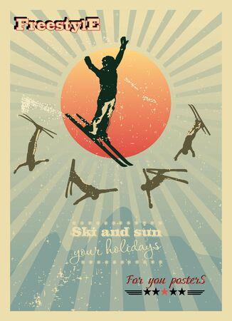 freeride: Cartel Alpine, esquiador en el sol, adem�s de cinco siluetas Vectores