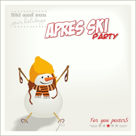 Banner ski party with a snowman, Apres ski . Vector